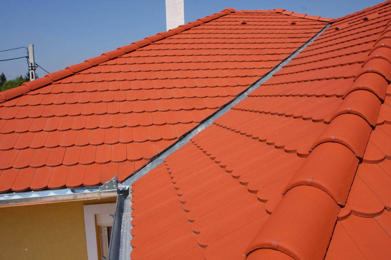 Betónová škridla Terran Rundo tehlová realizácia strechy - detail úžlabie